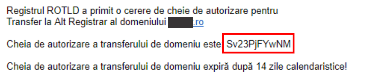 Email cheie de transfer domeniu .ro